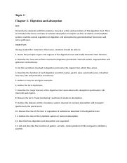 Topic 2 Objectives Digestion and absorption