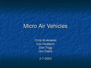 Micro Air Vehicles(spring 03)
