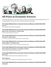 All Prizes in Economic Sciences NOBEL