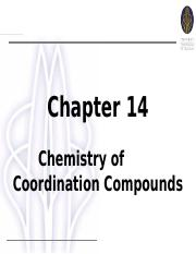 Student_Chapter 14 Chemistry of Coordination Compounds