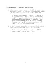 MATH 2450 Summer 2012 Week 6 Quiz Solutions