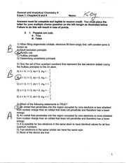 General Chem 2 Exam 1 answer key