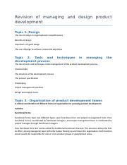 Revision of managing and design product development