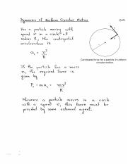 Dynamics of Uniform Circular Motion review