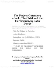 The Child and the Curriculum - Dewey