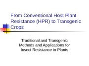 Host plant resistance to insects  Lecture