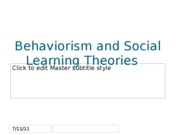 Behaviorism and Social Learning Theories slide show
