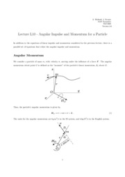L10 Angular Impulse and Momentum for a Particle