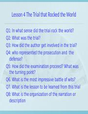 Lesson 4 The Trial that Rocked the World