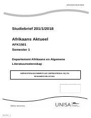 AFRIKAANS - University of South Africa - Course Hero