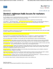 01_Domino Nightmare Holds Lessons for Marketers_USAToday