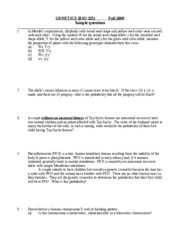 BIO 325 - Fall 2009 - Sample questions