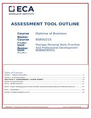 BSBWOR501-Manage Personal  Work Priorities and Professional Development - Assessment Tool NY.docx