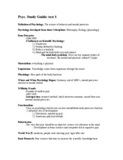 Psyc Study Guide Test 1