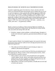 HEALTH RISKS OF GENETICALLY MODIFIED FOODS (FInal copy).docx