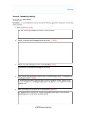 Journal Probability Activity