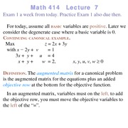 Lecture 7 on Linear Programming