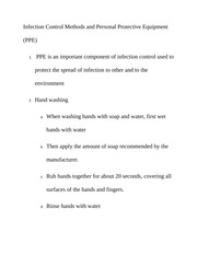 Infection Control Methods and Personal Protective Equipment Class Notes