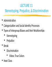 class 11- stereotyping prejudice and discrimination post