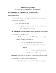 INTERPERSONAL THEORIES OF ABNORMALITY