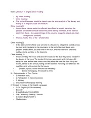 Notes Literature in English Close reading