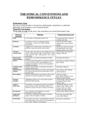 THEATRICAL CONVENTIONS AND PERFORMANCE STYLES