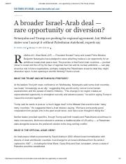 Karin Laub-A broader Israel Arab deal rare opportunity or diversion-Feb 2017