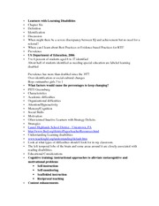 Notes for Chapter 6 Exceptional Learners