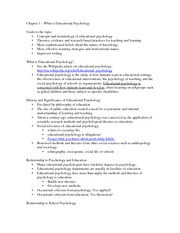 Class Notes - What is Educational Psychology