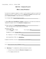 Company Research Milner Library Worksheet