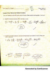 Chapter 8 Test: Rational and Radical Functions