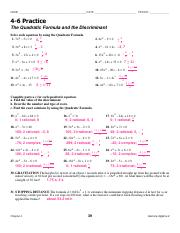 4-6 homework the quadratic formula and the discriminant