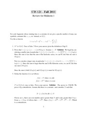 CIS 121 Fall 2011 - Midterm 1 Review Solutions
