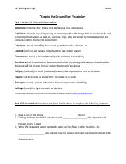 Keeping the Dream Alive Vocabulary Worksheet.docx