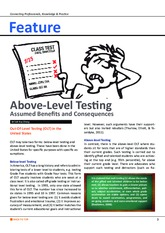 Assessment article 1 - Above Level Testing