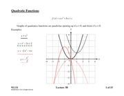 Lecture 3B on Quadratics