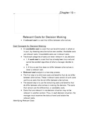 Chapter 13 Relevant Costs for Decision Making
