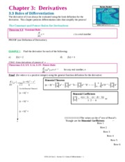 MTH 210 Chapter 3 Derivatives