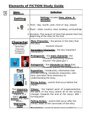 Elements of Fiction Study Guide