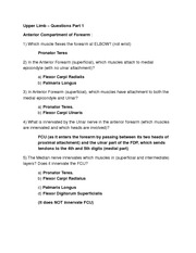 ANAT 1615 Exam 2 Upper Limb - Questions Part 1-3 (Dr Hassani)