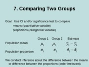 7. Comparing two groups