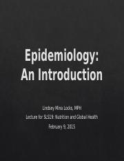 Lecture 3: Intro to Epidemiology
