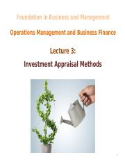 L3 - Investment Appraisal Methods