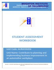 AURAMA006 Contribute to planning and implementing business improvement in an automotive workplace (1