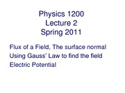 Physics II - Lecture 2 (Gauss' Law)