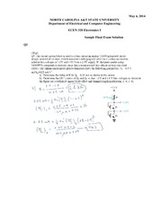 Sample Final Exam Solution