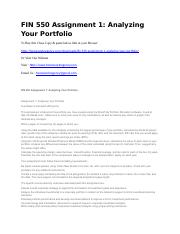 FIN 550 Assignment 1 Analyzing Your Portfolio.docx