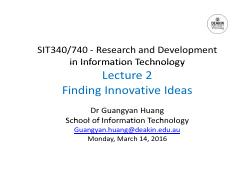 Lecture 2 Finding Innovative Ideas