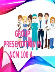 GROUP PRESENTATION in ncm 100 a