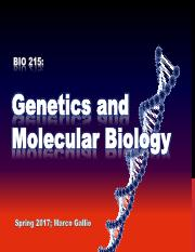 Lecture3_2017_Genetics and Molecular Biology